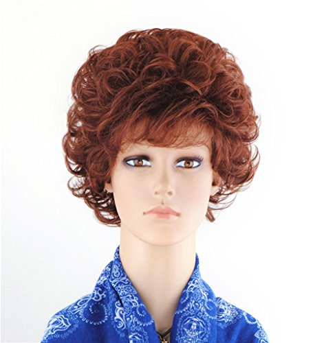 [SherryShine Halloween Cosplay 11 inches Short Curly Full Head Fluffy Red-brown Wigs with Bangs and Free Cap and Comb(SXD0370)] (Short Curly Wig)