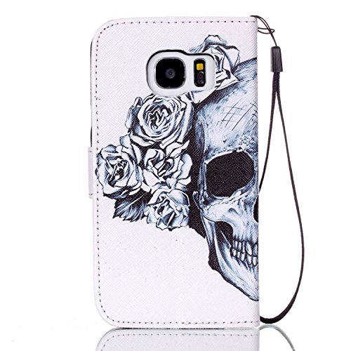 Price comparison product image Urberry S7 Wallet Case, Skull and Flower Print Case for Samsung Galaxy S7, Shock-proof Case with a Free Phone Bracket