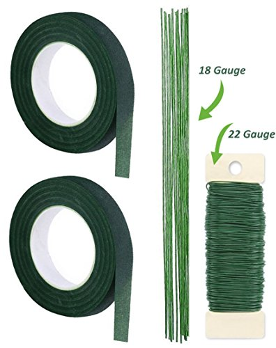 Premium Quality 1/2 Inch Floral Tape, Self-Sealing, Dark Green and Ligh Green, With Green Paddle Wire 22-Gauge Inludes 12 Pieces of 18 Inch 18 Guage (Floral Scrapbooking Kit)