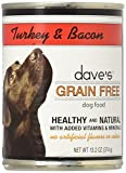 Dave's Grain Free, Turkey & Bacon  For Dogs, 13 oz Can (Case of 12 )