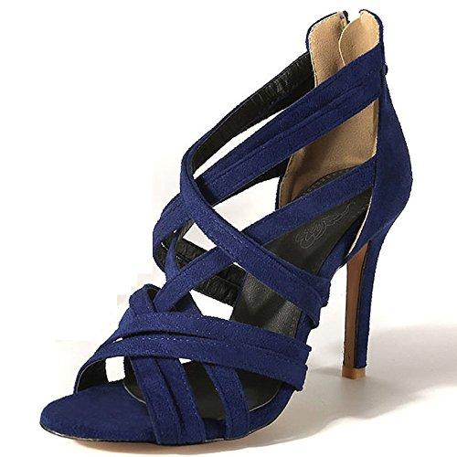 Cheville Blue Satin En Roman Soirée Toe Peep La Bride Crossover Pompes De Femmes Strap Mariage Talon à Haut De Chaussures w7FqpH