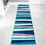 Teal Blue Colour Stripe Stripey Striped Lines Design Living Room Floor Rug 2