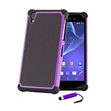 32nd® Shock proof defender heavy duty tough case cover for Sony Xperia Z1 (L39H) + screen protector, cleaning cloth and touch stylus - Purple