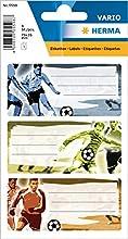 HERMA 5598 Nombre de cuaderno etiquetas para la Escuela, diseño de fútbol, formato 7,6 x 3,5 cm, contenido por paquete: 9 etiquetas