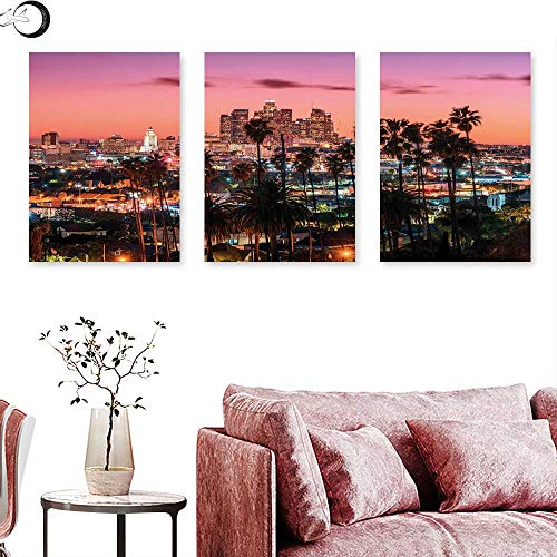 United States Living Room Home Office Decorations Vibrant Sunset Twilight Scenery Los Angeles Famous Downtown with Palm Trees Wall painting Multicolor triptych art canvas W 16