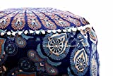 Art Box Store Blue & Multi-color Ottoman Pouf Cover Indian Foot Stool Cover Vintage Kid Seating Ottomans Pouf Covers Pouffe Round Floor Cushion Cover