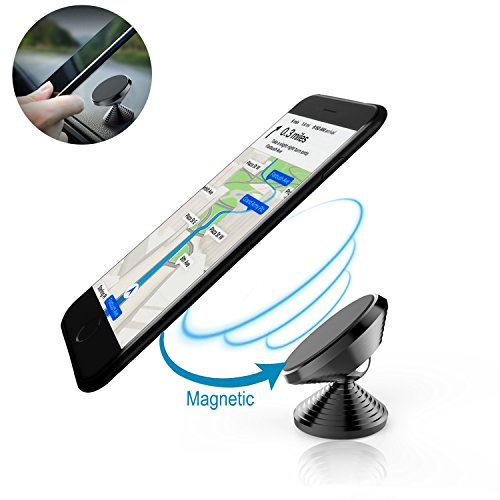 Magnetic Phone Car Mount Holder Universal Strong Sticky Adhesive Dashboard Cellphone Stand for Iphone 7 6 6S Plus Samsung Galaxy S8 S7 S6 Edge and Other All Smartphones (Black)