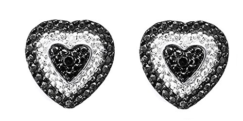 Heart Sterling Shape Earrings Silver (Black & White Natural Diamond Heart Shape Stud Earrings in 14k White Gold Over Sterling Silver (0.02 Ct))