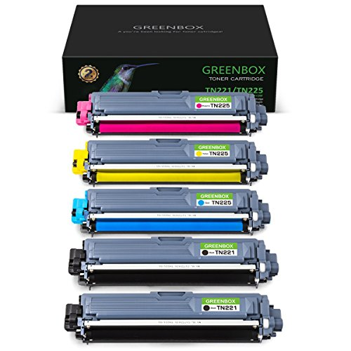 GREENBOX Compatible Toner Cartridge Replacement for Brother TN221 TN225 TN-221 TN-225 High Yield Used in Brother HL-3170CDW HL-3140CDW HL-3180CDW MFC-9130CW MFC-9330CDW MFC-9340CDW, 5-Pack