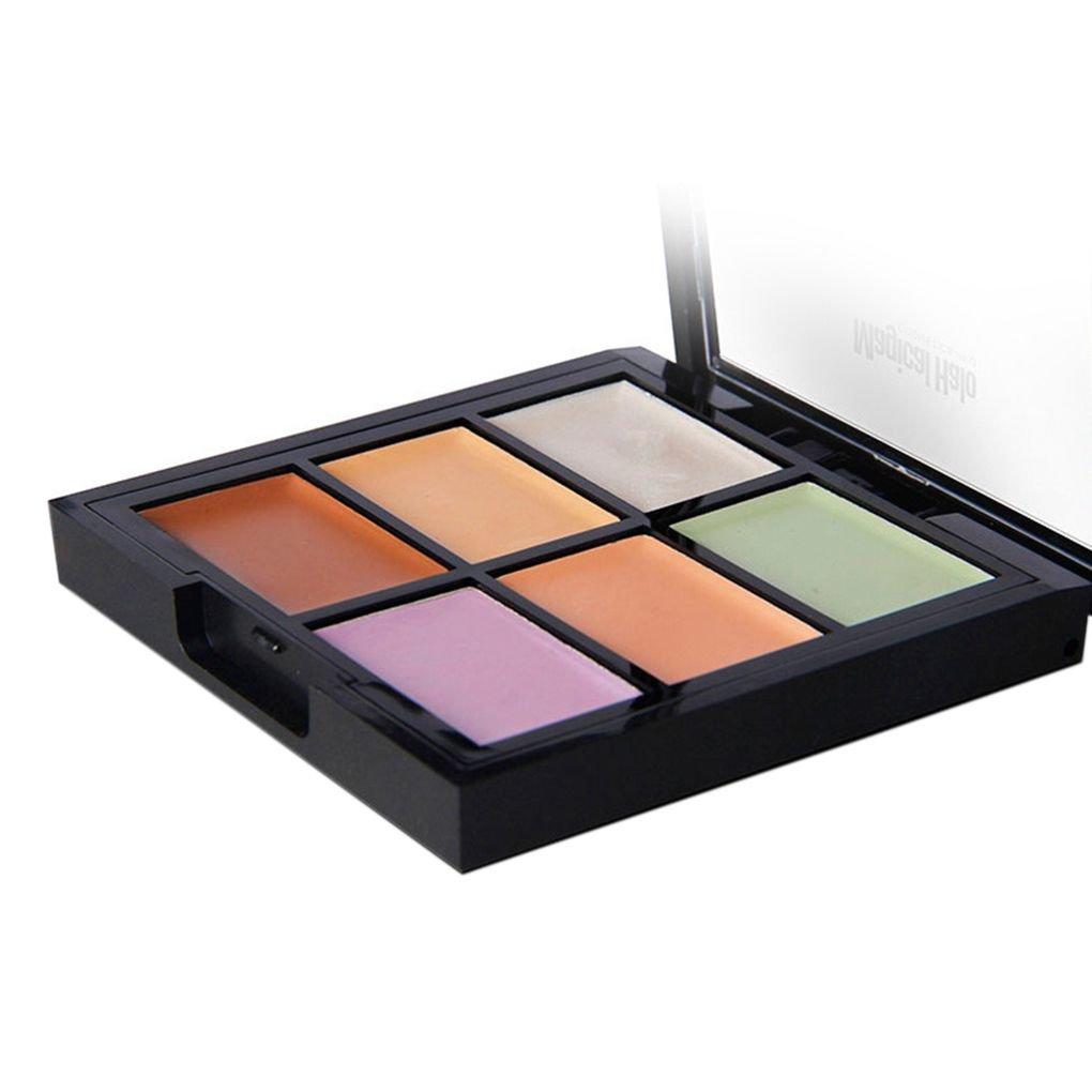 Lorjoy Halo mágico 6 Colores de Maquillaje Paleta Contorno hidrata blanqueando refrentado Corrector Fundación Crema Cuidado