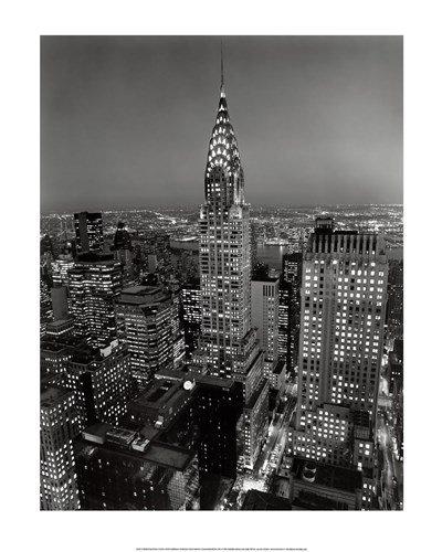 Henri Silberman Chrysler Building - New York, New York, Chrysler Building at Night by Henri Silberman - 15.75x19.5 Inches - Art Print Poster
