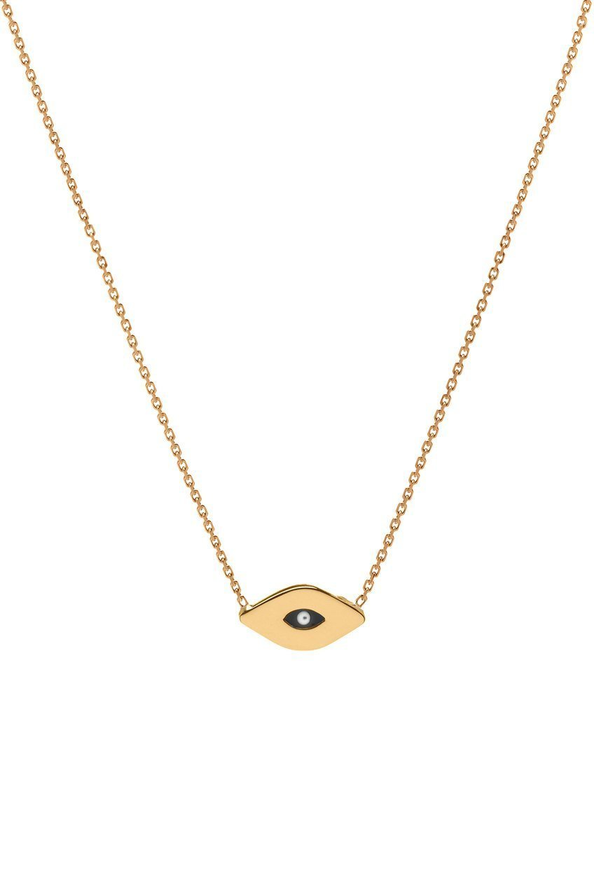 14k gold evil eye necklace, 14k solid gold