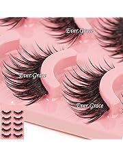 ICYCHEER Makeup 5 Pairs Natural Long Eye Lashes Handmade Thick False Eyelashes Black