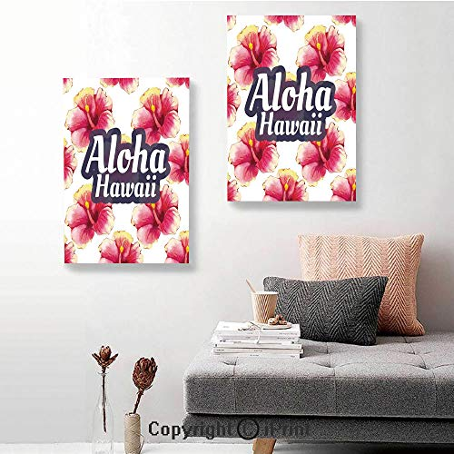 SfeatruRWF 2 Piece Multi Panel Hanging Canvas,Aloha Hawaii Tropical Flowers Floral Ornament with Wildflowers Classic Design,24