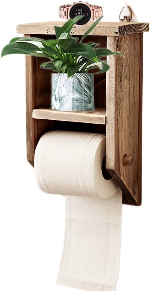 Amazon Com Byher Rustic Toilet Paper Holder With Shelf Wooden Bathroom Accessories For Farmhouse Decor Rustic Wood 11inch Home Kitchen