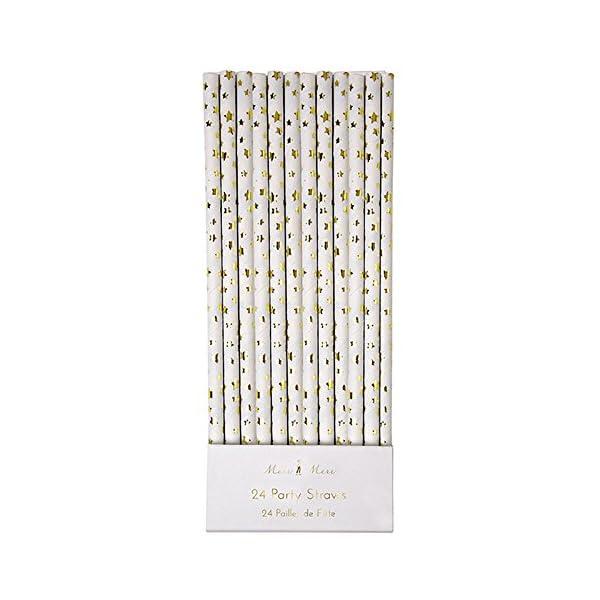 Meri Meri Gold Stars Paper Straws (Set of 24)