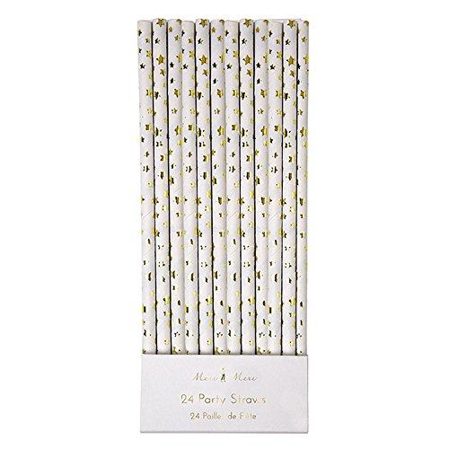 Meri Meri Gold Stars Paper Straws, Set of 24