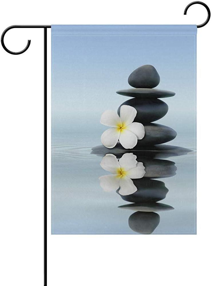 EW-OL Zen SPA Stones Flor Blanca Azul Jardín Grande Bandera Poliéster Vertical Doble Cara Impreso 12.5X18 Pulgadas: Amazon.es: Jardín