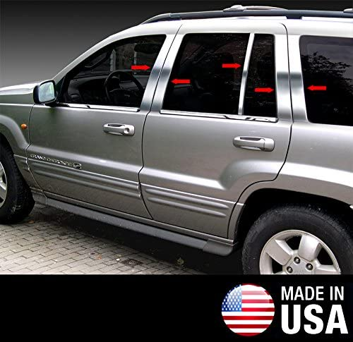 Made in USA Compatible with 1999-2004 Jeep Grand Cherokee 10 PC Stainless Steel Chrome Pillar Post Trim