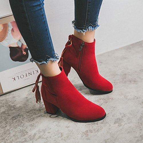 Latasa Femmes Gland Talons Chunky Faux Cheville Bottes Rouge