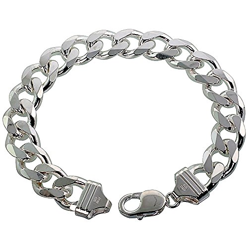 Beveled Curb Chain Bracelet - Sterling Silver Thick Curb Cuban Link Chain Bracelet 13mm Beveled Edges Nickel Free Italy 9 inch