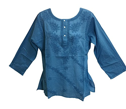 Classic Indian Gauze Cotton Embroidered Plus Long Sleeve Sixties Blouse Top (Blue, Large)