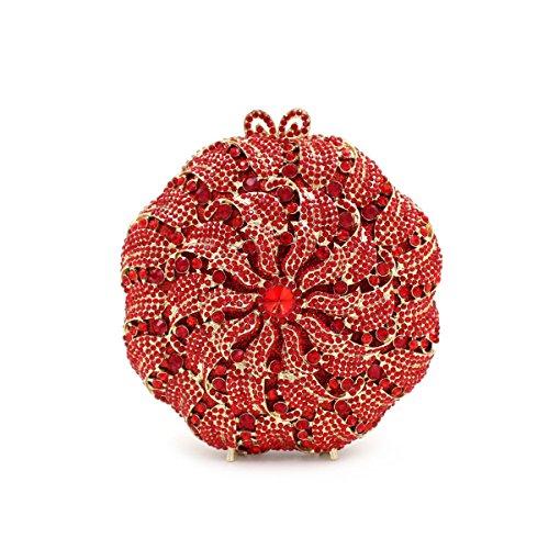 Hollow Evening Luxury Red High Dress Crystal Flowers Hand Bag grade Diamond Diamonds fnI84wq