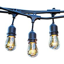 48 FT Weatherproof Outdoor String Lights by Proxy Lighting - UL Listed - 15 Hanging Sockets - Perfect Patio Lights - Black - 16 11 Watt S14 Dimmable Incandescent Bulbs Included