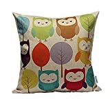 "Decorhome Cotton Linen Square Throw Pillow Case Decorative Cushion Cover Pillowcase Cartoon Cute Owls and Trees 18 ""X18 """