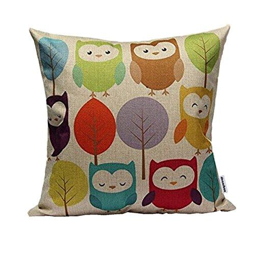 HOSL Cotton Linen Square Throw Pillow Case Decorative Cushion Cover Pillowcase Cartoon Cute Owls and Trees 18 X18