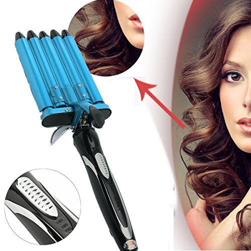 LuckyFine Automatic Perm Splint Ceramic Hair Curler 5 Barrels Big Wave Hair Curling Iron Hair Waver Curlers Styling Tools