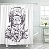 Emvency Shower Curtain Animal Space Pug Dog in Astronaut Suit Drawing Bull Shower