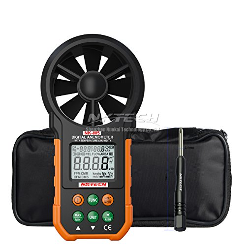 NKTECH NK-W5 Digital Anemometer Wind Speed Meter Air Flow Volume Ambient and Temperature Humidity USB Data Upload Backlight 9999 Count LCD Dual Line Digital Display + TL-1 - Ma Square One