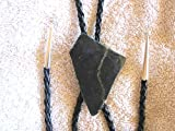 ARTIST SIGNED BLACK JADE w IRON ORE BOLO with LEATHER TIE & STERLING TIPS