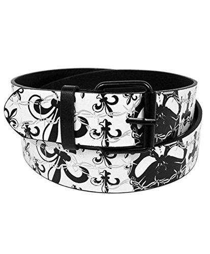 White De Fleur Lis Buckle Belt - Men's Assorted Graphic Printed Buckle Belts (Medium, White Fleur-De-Lis)
