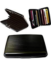 BUSINESS TRAVEL ID CREDIT CARD HOLDER WALLET ALUMINUM METAL POCKET CASE BLACK