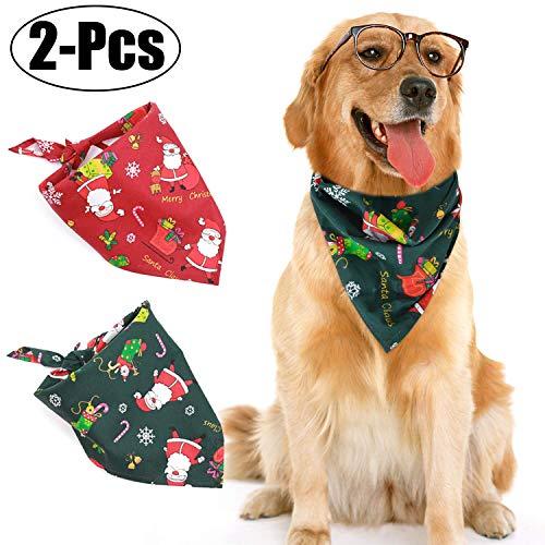 Legendog 2Pcs Dog Bandana Christmas Costume Pet Santa Pattern Triangle Scarf Cat Bandana for Christmas (2Pcs Christmas Bandana)