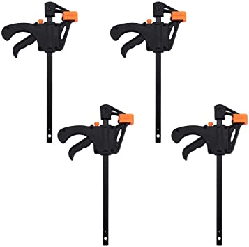 Ratchet Bar Clamps One Handed Bar Clamp Quick Grip Clamps 4 inch Quick Grip Clamps 1 Pack Bar Clamps for Woodwork One Handed Release F Clamp for Woodworking