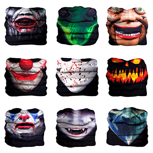 Sojourner 9PCS Seamless Bandanas Face Mask Headband Scarf Headwrap Neckwarmer & More - 12-in-1 Multifunctional for Music Festivals, Raves, Riding, Outdoors (9PCS Monster Series 1)]()