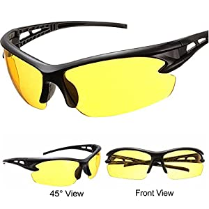 Night Driving Glasses for Men and Women Safety Sunglasses with HD Yellow Lens Plastic Frame Anti Glare UV 400 Protection Father's Day Gift