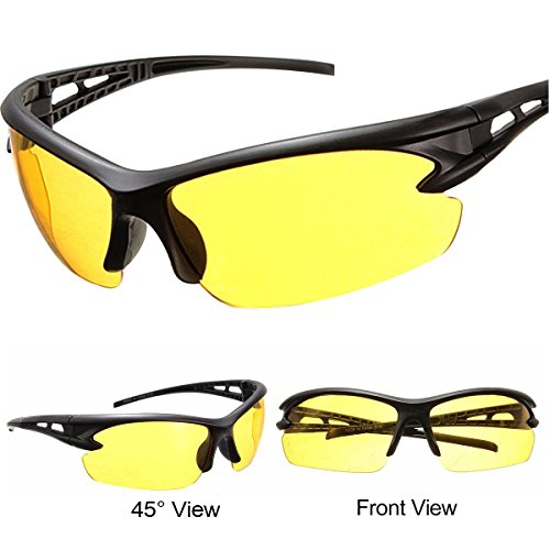 Night Driving Glasses for Men and Women Safety Sunglasses with HD Yellow Lens Plastic Frame Anti Glare UV 400 Protection ()