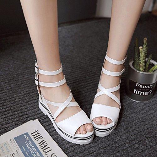 COOLCEPT Mujer Moda Correa de Tobillo Sandalias Punta Abierta Elevator Interior Zapatos Blanco