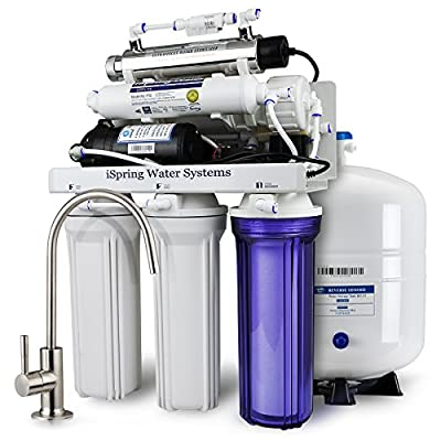 iSpring RCC1UP 6-Stage Maximum Performance Under-Sink Reverse Osmosis Drinking Water Filtration System with Booster Pump and UV Light Sterilizer