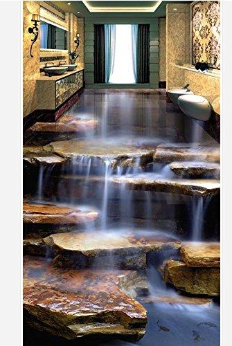 200cmX140cm Home Decoration 3d wallpaper pvc Stone waterfall living room bathroom 3d flooring waterproof floor,B by 3Ds wallpaper
