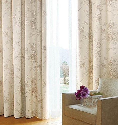 アスワン 線画のような淡いタッチのカーテン カーテン1.5倍ヒダ E6261 幅:300cm ×丈:270cm (2枚組)オーダーカーテン 270  B078C7WK5B