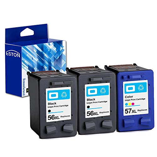 ESTON Remanufactured Ink Cartridge Replacement for HP 56 56XL and HP 57 57XL (2 Black 1 Color 3 Pack)