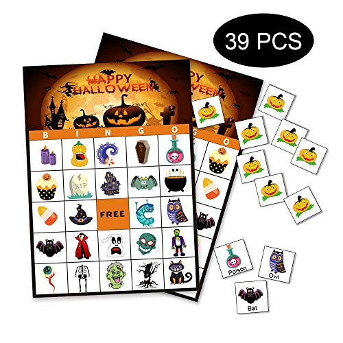 Halloween Bingo Game Cards (Halloween Bingo Cards Games for Kids - 24 Players Party Class Family Activity Favors)