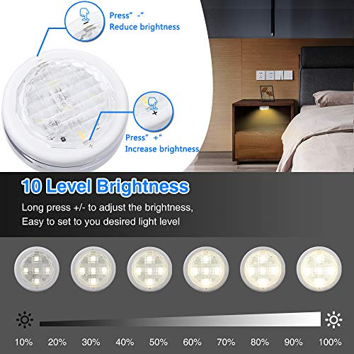 Under Cabinet Lighting,SOLMORE LED Closet Lights RGBW Wireless LED Puck Lights Cabinet Lights Battery Powered Night Lights Under Counter Lighting with Remote Control Dimmer & Timing Function (9 Pack)