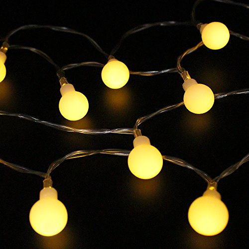 Globe String Lights, Hippih 2 Modes Waterproof Starry Lights for Wedding, Xmas, Party Decorations (Warm White Llight, Battery-Powered, 40 LEDS, 13 Feet)