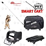 dbest products 08-042 Pet Smart Cart, Medium, Black, Rolling Carrier with wheels soft sided collapsible Folding Travel Bag, Dog Cat Airline Approved Tote Luggage backpack,